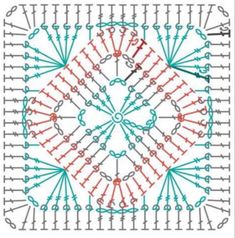 Crochet Squares Afghan, Granny Square Crochet Pattern, Crochet Diagram, Crochet Chart, Crochet Granny, Granny Squares, Crochet Motif Patterns, Crochet Designs, Crochet Tree