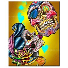 New design Sugar Skull Kiss. banner at this seasons ASD in Vegas and soon on bags and swag. New series of Danger sugar gypsies and Sugar Skulls coming out! Tattoo Fairy, S Tattoo, Yakuza Tattoo, Samoan Tattoo, Polynesian Tattoos, Grey Tattoo, Sugar Skull Artwork, Sugar Skull Wallpaper, Sugar Skull Painting
