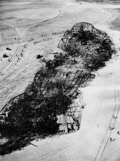 Aerial photo of the wreckage of the Hindenburg taken on May 7, 1937, the morning after the crash.