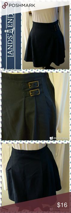 "🎄New Listing - Lands' End In excellent condition.  Lands' End skirt. Navy align mini style. Double  buckle detail on left front side.  Large pleats.  Side zipper. Low waist.  Measurements are length 15.5"", waist 30"". Lands' End Skirts Mini"