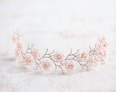 51_Blush crown Pink gold tiara Rosy crown Blush wedding by ArsiArt