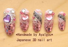 Prom rave Hime gyaru 3D nails Japanese nail art hearts by Aya1gou, $22.00