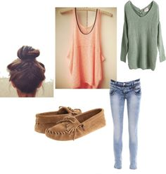 """""""Lazy days."""" by softballhottie84 on Polyvore  But replace the moccasins with bunny slippers...haha!"""