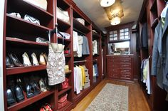 His & Hers walk-in closet transformed into maximized storage solutions from wire shelving.