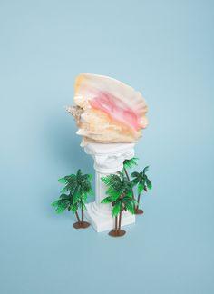 mollymatalon:  untitled conch shell, white plastic column, three plastic palm trees 2013