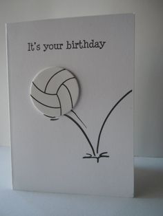 Volleyball Happy Birthday Handmade Greeting Card by lindaoakes