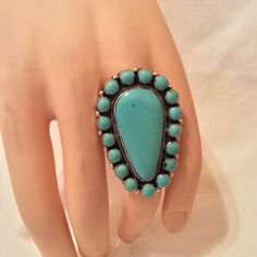HUGE TURQUOISE CLUSTER STERLING SILVER RING   SIZES 9 & 10 AVAILABE  SIGNED