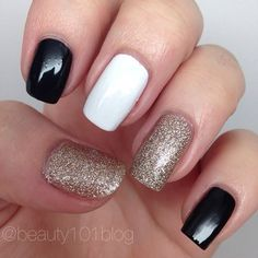 Black, White, and Gold Glitter Manicure. OBSESSED. Love this neutral and classy combo! #nails #nailart