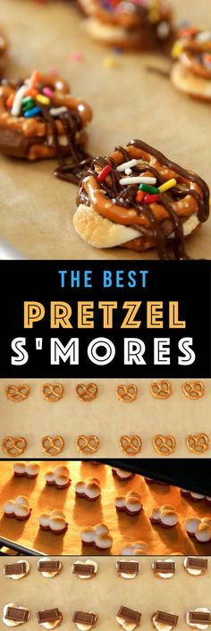 "Easy Pretzel S'mores – marshmallow and chocolate pretzel ""sandwiches"" baked to gooey perfection, then drizzled with chocolate sauce. You can't go wrong. All you need is only 3 ingredients: pretzels, marshmallows and Hershey's chocolate bars. Chocolate sauce and Sprinkles are optional if you'd like to add some fun and colors to it. SO GOOD! Fun recipe to make with kids. Quick and Easy recipe. 3 Ingredient Video recipe. 