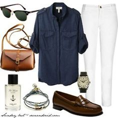 White jeans and penny loafers