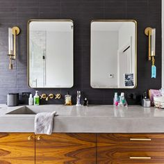 Blending classic elements with contemporary fixtures, these renovators opted for concrete countertops that work well with the warm wood tones and mixed metals. Mold In Bathroom, Bathroom Red, Bathroom Floor Tiles, Small Bathroom, Bathrooms, Bathroom Ideas, Master Bathroom, Bathroom Sinks, Wall Tile