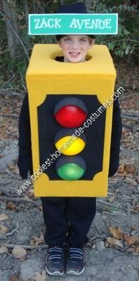 Homemade Traffic Light Kids Halloween Costume Idea: My son wanted to be a traffic light for Halloween, so I went to work. Considering I do not sew, I put the entire homemade traffic light kids Halloween