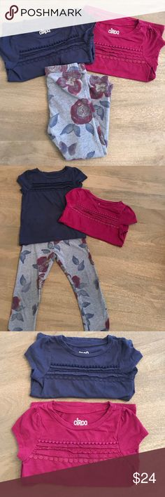 Set of Toddler TShirts & Floral Leggings (3-pack) This set is perfect for Fall! Comes with 2 Circo t-shirts in dark pink and navy, plus a pair of Old Navy cotton Floral leggings! All 3T. Great condition! Plenty of playtime left in these! 💙 Offers welcome 💙 Old Navy Matching Sets