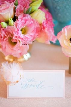 Pink, gold and blue reception place card  from Maine Seasons Events and Floral Fauna | photography by http://corbingurkin.com/