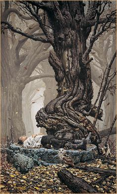 Keith Parkinson./ This was used as a book cover for  C. J. Cherryh's Rusalka novels. Love them.