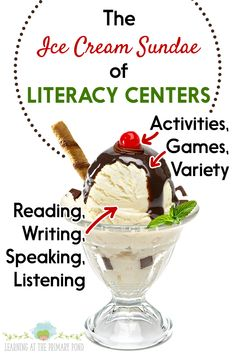 Literacy Centers That Work - Learning at the Primary Pond Kindergarten Centers, Kindergarten Writing, Literacy Centers, Reading Fluency Activities, Reading Comprehension Strategies, Guided Reading Lessons, Writing Lessons, Writing Ideas, Reading Centers