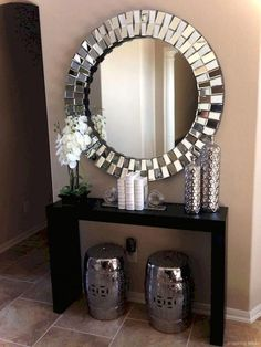 Adorable 65 easy and simply diy small apartment decorating ideas Diy Living Room Decor, Living Room Mirrors, Living Room On A Budget, Living Room Designs, Home Decor, Wall Mirrors, Hallway Mirror, Beige Living Rooms, Simple Living Room