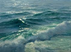 "vjeranski: "" Donald Demers Winter Seas Ocean Breakers Evening surf Shimmer and Flow Dusk on the Reef oil "" Landscape Art, Landscape Paintings, Ocean Scenes, Water Art, Sea Art, Sea And Ocean, Seascape Paintings, Ocean Waves, Oeuvre D'art"