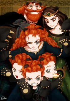 Princess Merida is the main character in an anime film that plays pixar and a leading role also in other anime films in 2012 Disney Pixar, Disney Fan Art, Disney E Dreamworks, Animation Disney, Disney Princess Art, Disney Memes, Disney Cartoons, Disney Magic, Disney Anime Style