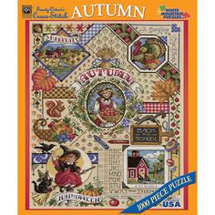 """Autumn Sampler 1000 Piece Puzzle: An old fashion Autumn sampler shows different aspects of this season such as harvest time, back-to-school, and Thanksgiving. Artwork by Sandy Orton. This 1000-piece jigsaw puzzle measures 24"""" x 30"""" when complete.  $14.99  http://www.calendars.com/Needlework/Autumn-Sampler-1000-Piece-Puzzle/prod201200009250/?categoryId=cat00113=cat00113#"""