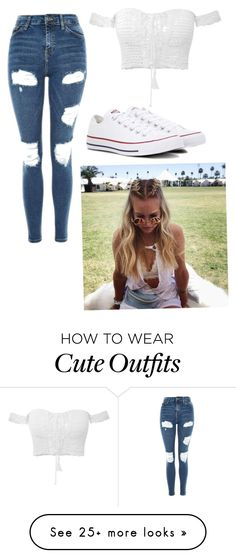 """""""Cute Summer Outfit"""" by hicksmadison03 on Polyvore featuring Topshop and Converse"""