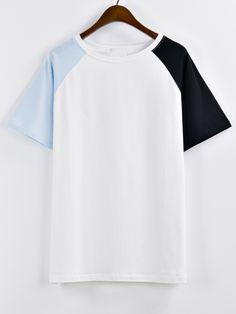 Raglan Sleeve Color-block T-shirt