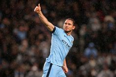 Frank Lampard of Manchester City celebrates after scoring during the Barclays Premier League match between Manchester City and Sunderland at Etihad Stadium on January 1, 2015 in Manchester, England