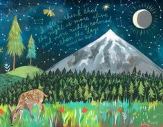 Night Mountain Art Print | Van Gogh Quote