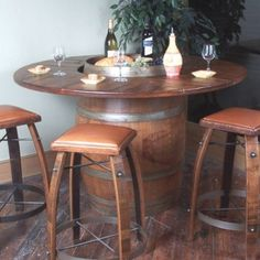 wine barrel table and six oak stools kitchen dining table rh pinterest com  wine barrel kitchen table furniture
