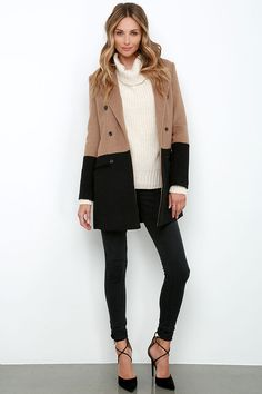 Picket Dreams Black and Brown Color Block Coat at Lulus.com!