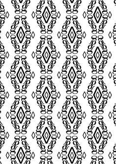"""New Caledonia Lt std, William A. Dwiggins, 1938. Pattern 2 (bn modificato):""""elegante"""":◊,g,∫ di New Caledonia Lt std Semibold Italic. Ho deciso di utilizzare la g perchè mi sembrava una lettera molto elegante, ho usato gli altri due glifi per migliorare il mio pattern, ∫ perchè ha delle curve molto sinuose e ◊ perchè dà un effetto tridimensionale ma delicato. Ho cambiato la disposizione della composizione per renderla uguale al pattern 2 colori."""
