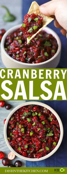 Ditch the holiday can of cranberry sauce and jazz things up a bit this holiday season! This salsa is no ordinary cranberry sauce. The deep tart flavour of the fresh cranberries is perfectly balanced with a touch of sweetness. A touch of lime juice and zest for acidity and a bit of heat from the jalapenos complete this addictive salsa. #salsa #cranberrysalsa #cranberrysauce #Thanksgiving #Christmas