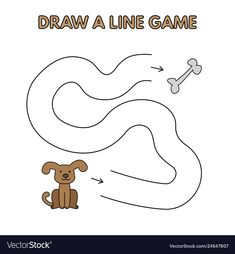Cartoon dog draw a line game for kids vector image on VectorStock Cartoon Dog Drawing, Cartoon Drawing Tutorial, Fun Snacks For Kids, Games For Kids, Preschool Learning Activities, Kids Learning, Letter Worksheets For Preschool, Line Game, Kids Vector