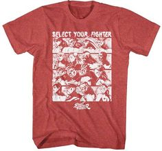 Mens Street Fighter Select Screen Red Heather T-Shirt