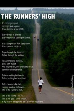 If my chance disappears, part of my life would end... so true... I say a prayer of thankfulness to GOD everytime I go out for a run and pray that I have many many years to continue running                                                                                                                                                     More