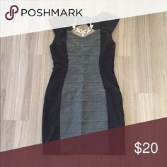 Express Black & Grey Bodycon Dress Black sides and grey front bandage dress (tight fitting). Zipper on the side. Key hole opening in back. Great condition, worn once! Express Dresses