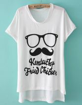 White Batwing Sleeve Glasses Beard Dipped Hem T-Shirt $22.26 #SheInside