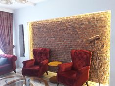 Faux Brickwork Wall Panels for Interiors Faux Brick Wall Panels, Brick Wall Paneling, Red Walls, Brickwork, Wingback Chair, Interior And Exterior, Accent Chairs, Inspiration, Furniture
