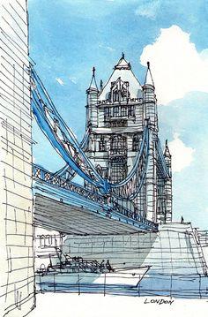 London Tower Bridge12 x 8 giclee print signed by AndreVoyy on Etsy, $20.00