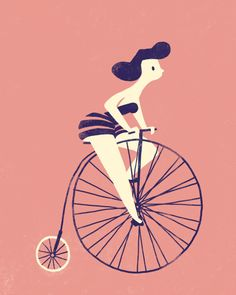 girl on bike #illustration #color