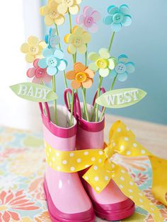 "baby shower centerpiece...If I end up having a baby due in May I want a baby shower in April themed ""April Showers Bring May Flowers"" and this would be perfect!"