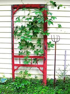 Use an old screen door to make a garden trellis.
