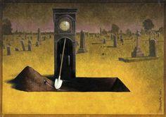 L'inesorabile trascorrere del tempo ci scava la tomba. Le ciniche illustrazioni di Pawel Kuczynski - Focus.it