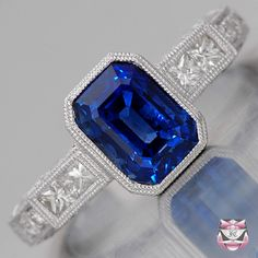 Art Deco Sapphire Engagement Ring from www.faycullen.com