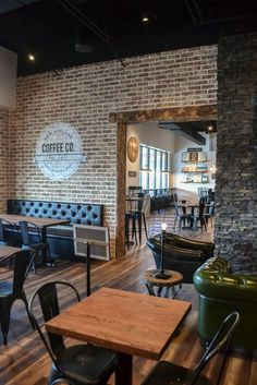 restaurant seating restaurant design Restaurant design: upholstered seating area and logo painted on brick Coffee Shop Interior Design, Coffee Shop Design, Bar Interior, Restaurant Interior Design, Restaurant Furniture, Cafe Design, Küchen Design, Industrial Restaurant Design, Sport Bar Design
