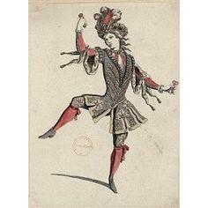 Male dancer (Costume design J. Berain) Chateau de Versailles / Bibliothèque municipale de Versailles N°identification : Ms F 88_E6_15 Louis Xiv, Theatre Costumes, Dance Costumes, Versailles, Costume Paris, Spanish Dance, Dance Project, Grisaille, Lino Cuts