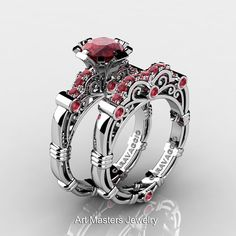 Art Masters Caravaggio 14K White Gold 1.0 Ct Rubies Engagement Ring Wedding Band Set R623S-14KWGR