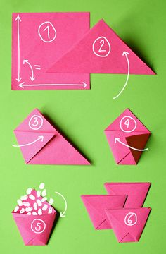 "Little bags for seeds, but should also work for candy or pearls or... ""ORIGAMI"""