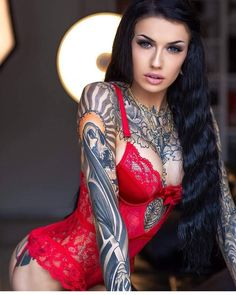 3fdcf1d42 Brunette Woman in red with tattoos Baby Tattoos, Hot Tattoos, Sleeve Tattoos,  Body