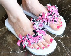 Flip Flop Fun!   Today I'm going to share a super easy way to doll up your flip flops. These particular flip flops I made are to match my b...